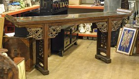Long Chinese Carved Wood Altar Table