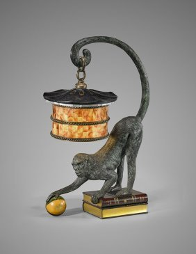 Vintage Bronze Monkey Lamp