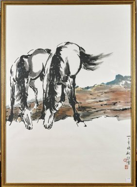 Two Chinese Paper Paintings: Village & Horses