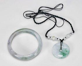Chinese Jadeite Bangle & Pendant