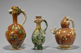 Three Chinese Sancai Pottery Ewers