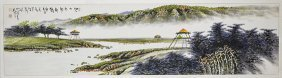 Large Chinese Paper Painting: Landscape