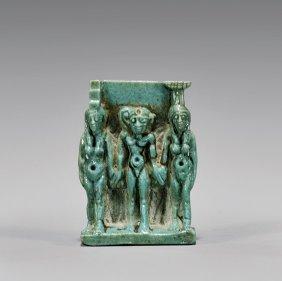 Egyptian Blue Faience Amulet: Triad