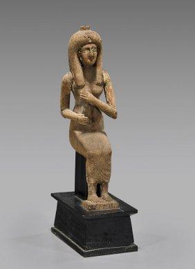 Egyptian Wood Seated Goddess