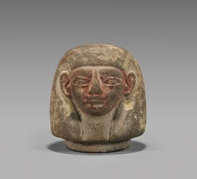 Egyptian Painted Terracotta Canopic Head: Imesty