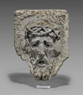 17th Century Stone Head Of Jesus Chirst