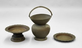 Three Middle Eastern Soft Metal Vessels
