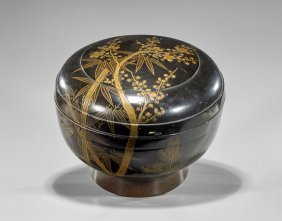 Large Antique Japanese Lacquered Round Box