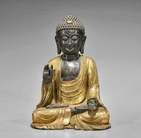 Ming-style Parcel Gilt Bronze Buddha
