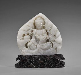 Large Carved White Jade Guanyin Pebble