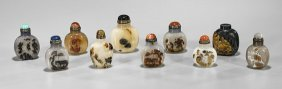 Ten Carved Cameo Agate Snuff Bottles