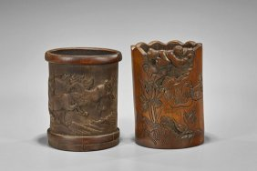 Two Chinese Carved Bamboo Brushpots