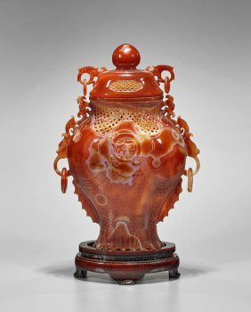 Chinese Carnelian Agate Double-fish Vase