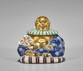 French Enameled Glass Perfume Budai Bottle