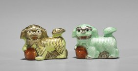 Pair Chinese Enameled Silver Fo Lions