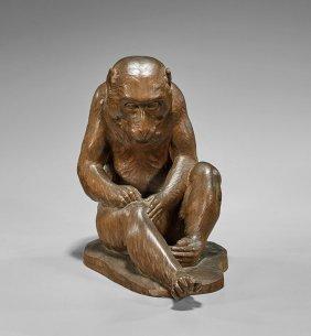 Antique Japanese Wood Okimono Monkey