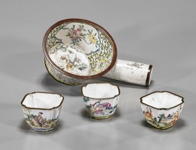 Four Antique Chinese Enamel On Copper Dishes