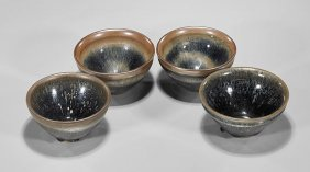 Four Song-style 'hare's Fur' Tea Bowls