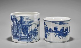 Two Large Kangxi-style Porcelain Brushpots