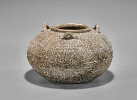 Large Chinese Moulded Ceramic Jar