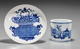 Two Blue & White Porcelains: Brushpot & Dish