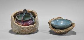 Two Junyao-type Glazed Ceramics