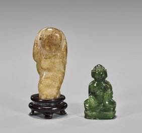 Two Antique Chinese Figural Jade Toggles