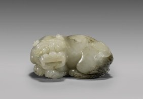 Antique Carved Jade Lion