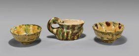 Antique Sancai Glazed Pottery: Pair Bowls & Duck