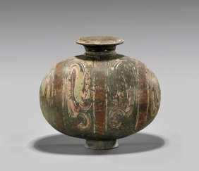Han Dynasty Painted Pottery Cocoon Vase