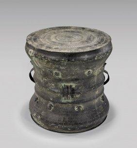 Large Chinese Bronze Rain Drum