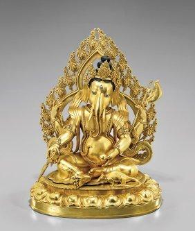 Large Sino-tibetan Gilt Bronze: Ganesha