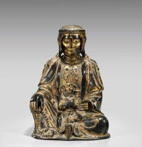 Antique Parcel-gilt Bronze Guanyin & Child