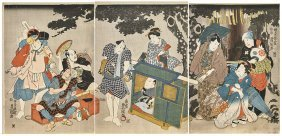 Antique Japanese Triptych Print By Toyokuni Iii