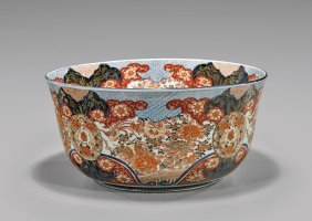 Massive Antique Imari Porcelain Bowl