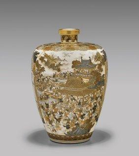 Fine Antique Kinkozan Satsuma Vase