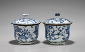 Pair Export Qianlong Soft-paste Covered Jars