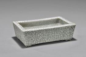 Antique Crackle-glazed Porcelain Planter Tray
