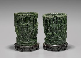 Pair Fine Spinach Jade Brushpots