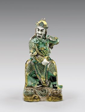 Antique Famille Verte Porcelain Warrior