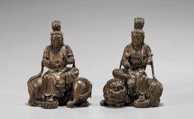 Pair Carved Wood Bodhisattva