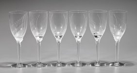 Six Lalique Crystal Champagne Flutes