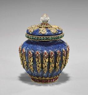 Tibetan Carved & Jeweled Lapis Jar