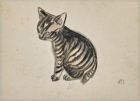 Toyonari Yamamura Kitten Lithograph