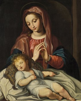 Antique Italian Oil Painting: Madonna & Child