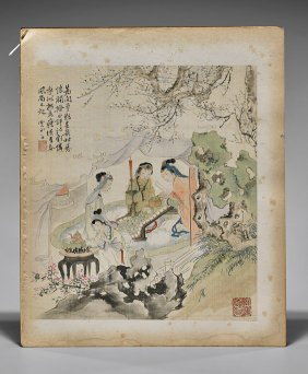 Eight Antique Chinese Silk Paintings