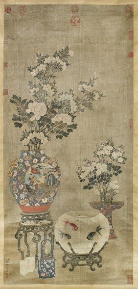 Ming-style Silk Scroll: Flowers & Fish