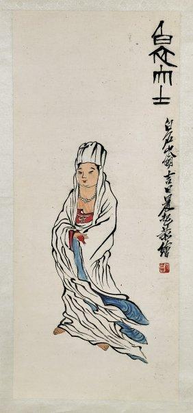 Chinese Paper Scroll After Qi Baishi: Guanyin