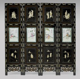 Chinese Four-panel Hardstone Screen