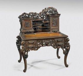 Japanese Art Nouveau Wood Desk